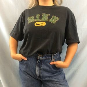 Black Nike T-Shirt with Green and Yellow Graphic